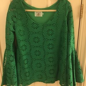 Judith March L green woven top